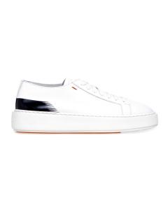 """Sneaker Santoni """"Cleanic"""" in pelle con dettaglio dipinto Bianco - Nero"""