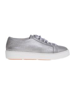 Sneaker santoni in pelle bottalata laminata Argento