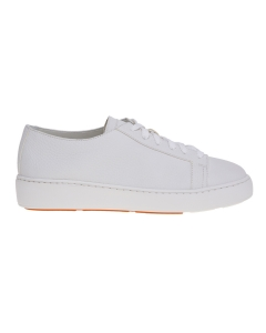 Sneaker santoni in pelle bottalata laminata Bianco