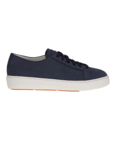 Sneaker Santoni in pelle bottalata laminata Blu