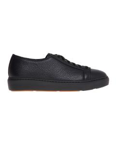 Sneaker Santoni in pelle bottalata Nero