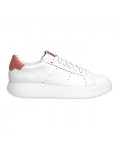 """Sneaker Santoni """"wide"""" in pelle Bianco-rosa"""