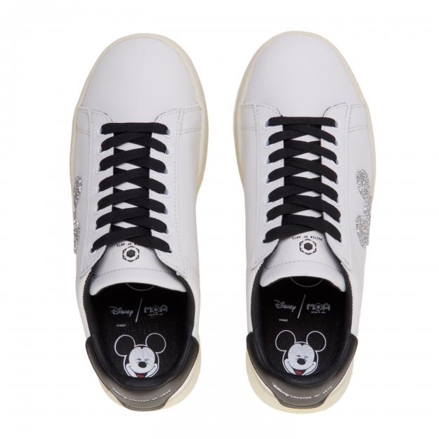 Sneaker moa master of arts in pelle con topolino swarovski Bianco