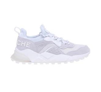 """Sneaker Voile Blanche """"Club 04"""" in camoscio e tessuto Bianco"""