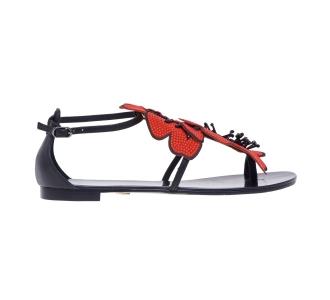Sandalo flat Lola Cruz in pelle con fiore pailettato Rosso