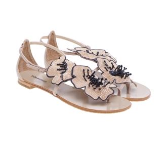 Sandalo flat Lola Cruz in pelle con fiore pailettato  Taupe