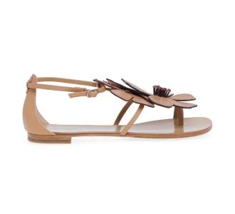 Sandalo Lola Cruz in pelle con fiore  Camel