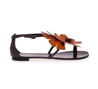 Sandalo Lola Cruz in pelle con fiore  Testa D.m.