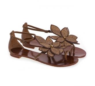 Sandalo Lola Cruz in pelle con fiore Cuoio