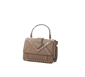 Cross handle bag La Carrie in ecopelle effetto bottalato Taupe
