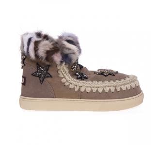 Stivaletto mou eskimo sneaker in camoscio con stelle e visone Beige