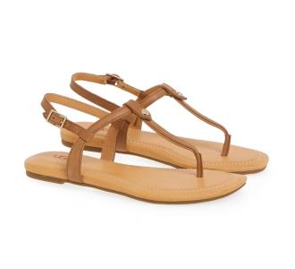 Sandalo flat UGG in pelle con infradito Cuoio