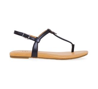 Sandalo flat UGG in pelle con infradito Nero