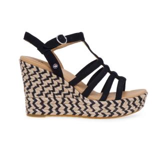 Sandalo UGG in camoscio con zeppa in corda bicolore  Nero