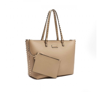 Shopping La Carrie in pelle martellata con borchie  Beige