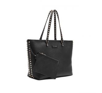 Shopping La Carrie in pelle martellata con borchie  Nero