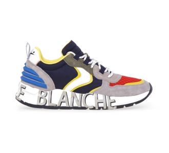 Sneaker Voile Blanche Club12 in camoscio e tessuto tecnico  Blu - Beige - Rosso