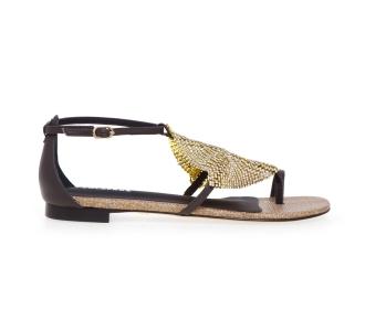 Sandalo flat Lola Cruz in pelle con strass Testa D.m.