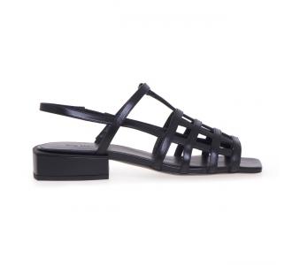 Sandalo flat Vic Matiè in pelle con tomaia effetto gabbia Nero