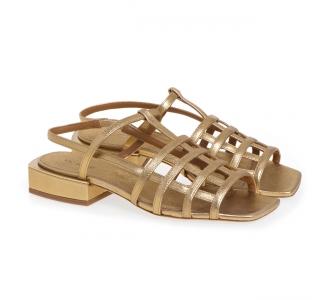 Sandalo flat Vic Matiè in pelle laminata con tomaia effetto gabbia Oro
