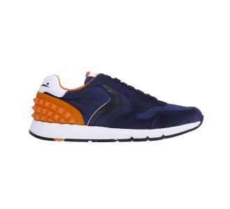 """Sneaker voile blanche """"reubent studs"""" in camoscio e tessuto Blu - Arancio"""