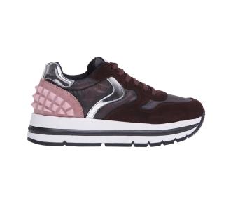 Sneaker voile blanche in camoscio e tessuto con inserti in gomma sul tallone Bordeaux - Rosa
