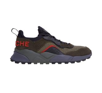 """Sneaker voile blanche """"club 04"""" in camoscio e tessuto tecnico Militare - Nero"""