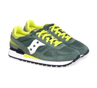 Sneaker Saucony Shadow in tessuto e camoscio Verde