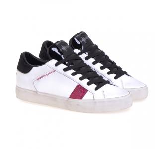 Sneaker Crime London in pelle e glitter Bianco