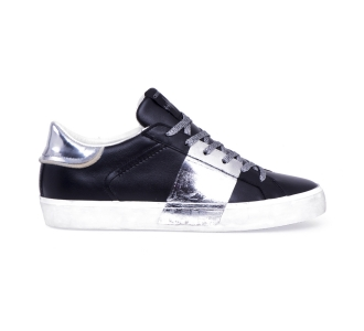 Sneaker crime london in pelle con fascia laminata Nero