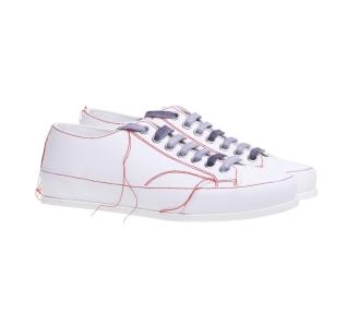 Sneaker Premiata in camoscio con filo in eccesso ornamentale Bianco / Rosso