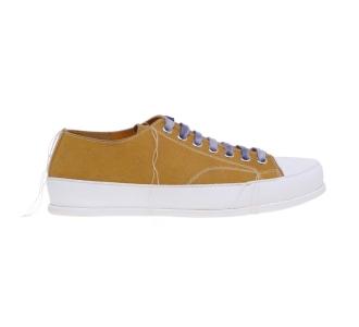 Sneaker Premiata in camoscio con filo in eccesso ornamentale Ocra / Filo Grezzo