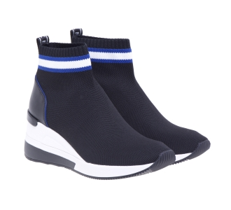 Sneaker Michael Kors in tessuto effetto calza con zeppa Nero
