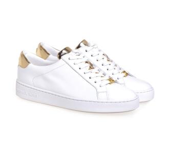 Sneaker Michael Kors in pelle con dettagli gold Bianco