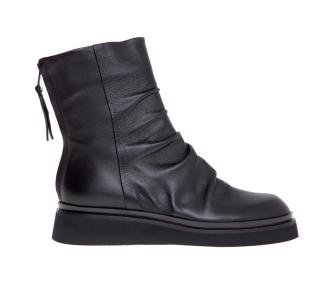 Polacco Fru.it in pelle nera arricciata con zip sul tallone Nero