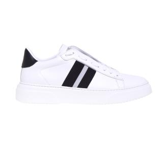 Sneaker Stokton in pelle con fascia in tessuto elasticizzato nero e bianco Bianco