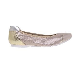Ballerina Hogan in pelle e camoscio laminati Oro