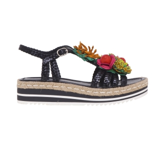 Sandalo pons quintana in pelle intrecciata con fiore multicolor  Nero
