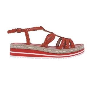 Sandalo pons quintana in pelle intrecciata  Corallo