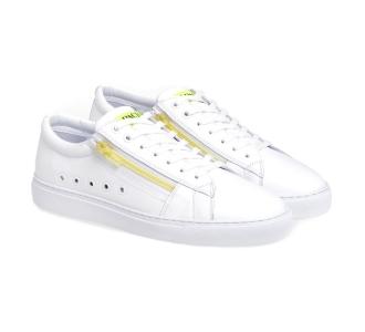 Sneaker Paciotti 4US in pelle con zip fluo  Bianco - Giallo