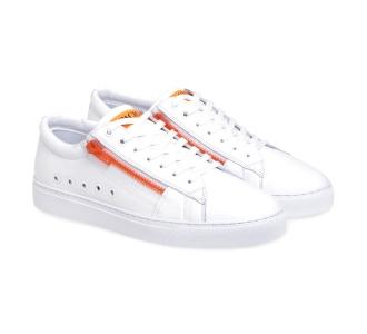 Sneaker Paciotti 4US in pelle con zip fluo  Bianco - Arancio