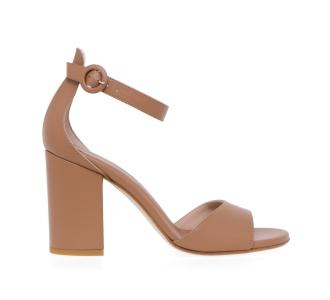 Sandalo Sergio Levantesi in pelle stampa rettile con tacco 80 mm Cuoio