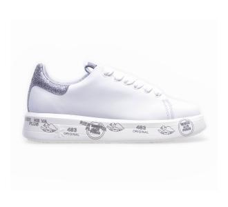 "Sneaker premiata ""belle"" in pelle con dettagli in glitter Bianco"