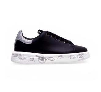 """Sneaker premiata """"belle"""" in pelle con dettagli in glitter Nero"""