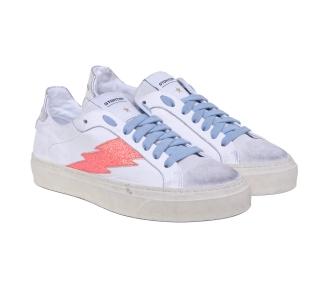 Sneaker Stokton in pelle e camoscio  Bianco-rosa