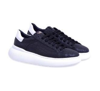 Sneaker hide & jack in pelle stampata con suola oversize Nero
