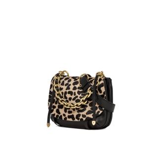Borsa a spalla gianni chiarini in pelle e cavallino leopardato con catena. misura piccola Leopardo - Macchia Nero