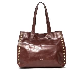 Borsa a spalla gianni chiarini in pelle lucida effetto vintage con borchie.  Wood