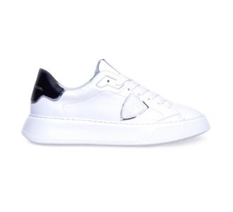 "Sneaker philippe model ""temple veau"" in pelle con suola oversize  Bianco"
