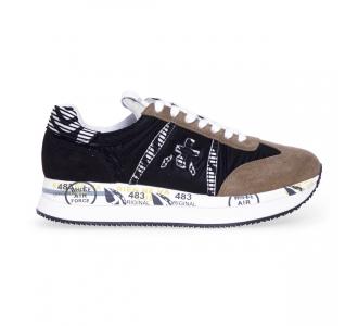 Sneaker Premiata Conny in tessuto e camoscio  Nero / Beige